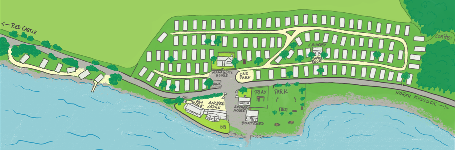 Caravan site map om the shores of the firth, by the shore road